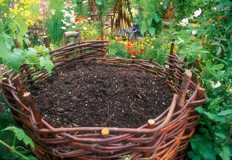 Compost Heap in Pretty Garden Setting